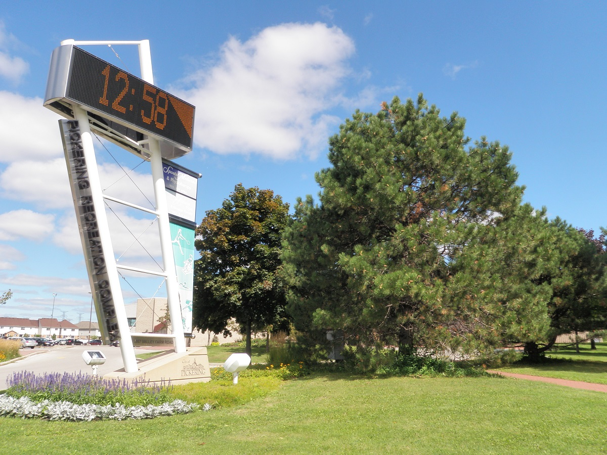 Pickering Rec Centre Digital Clock at Valley Farm Rd and Diefenbaker Crt
