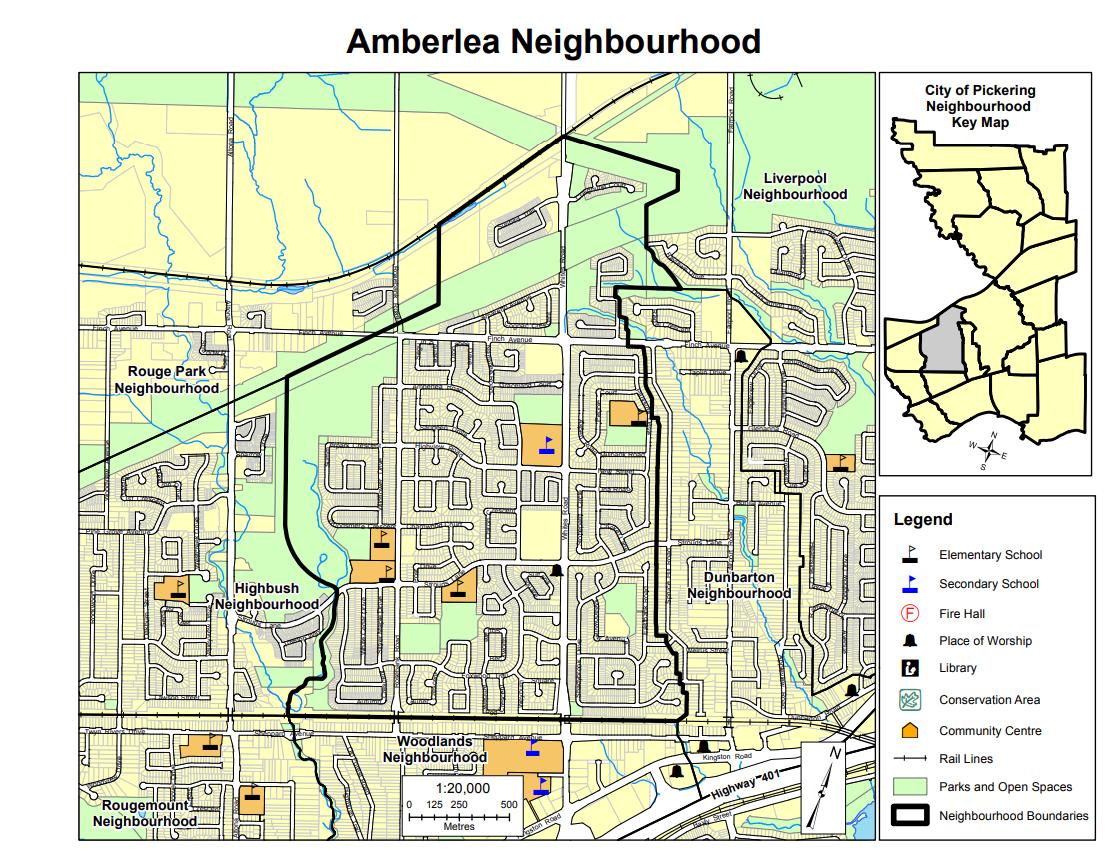 Pickering Neighbourhood Amberlea Map from City of Pickering