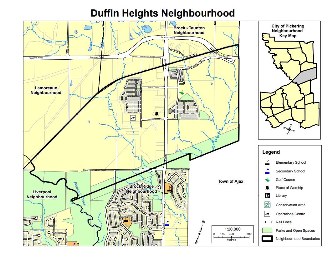 Map of Duffin Heights Neighbourhood in Pickering Durham Ontario