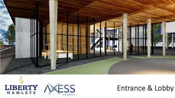 Entrance and Lobby of Axess Condos in Pickering