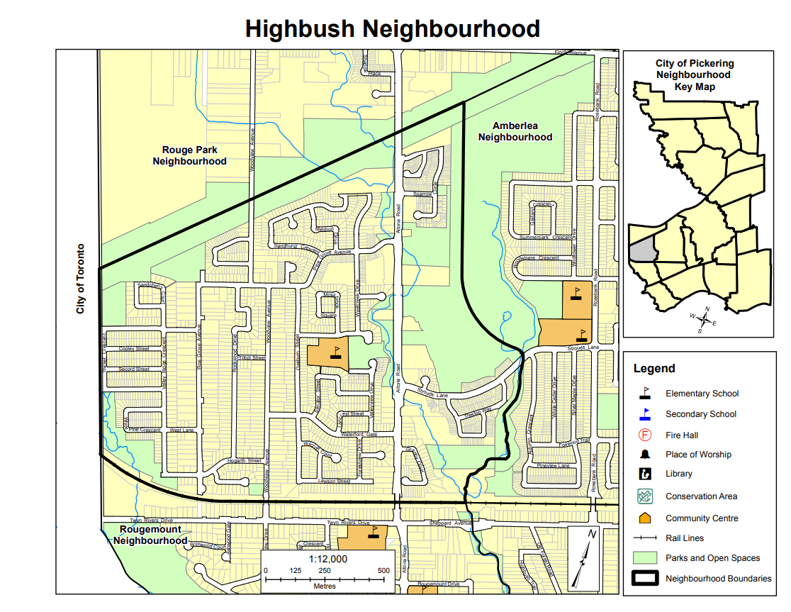 Map of Highbush Neighbourhood in Pickering