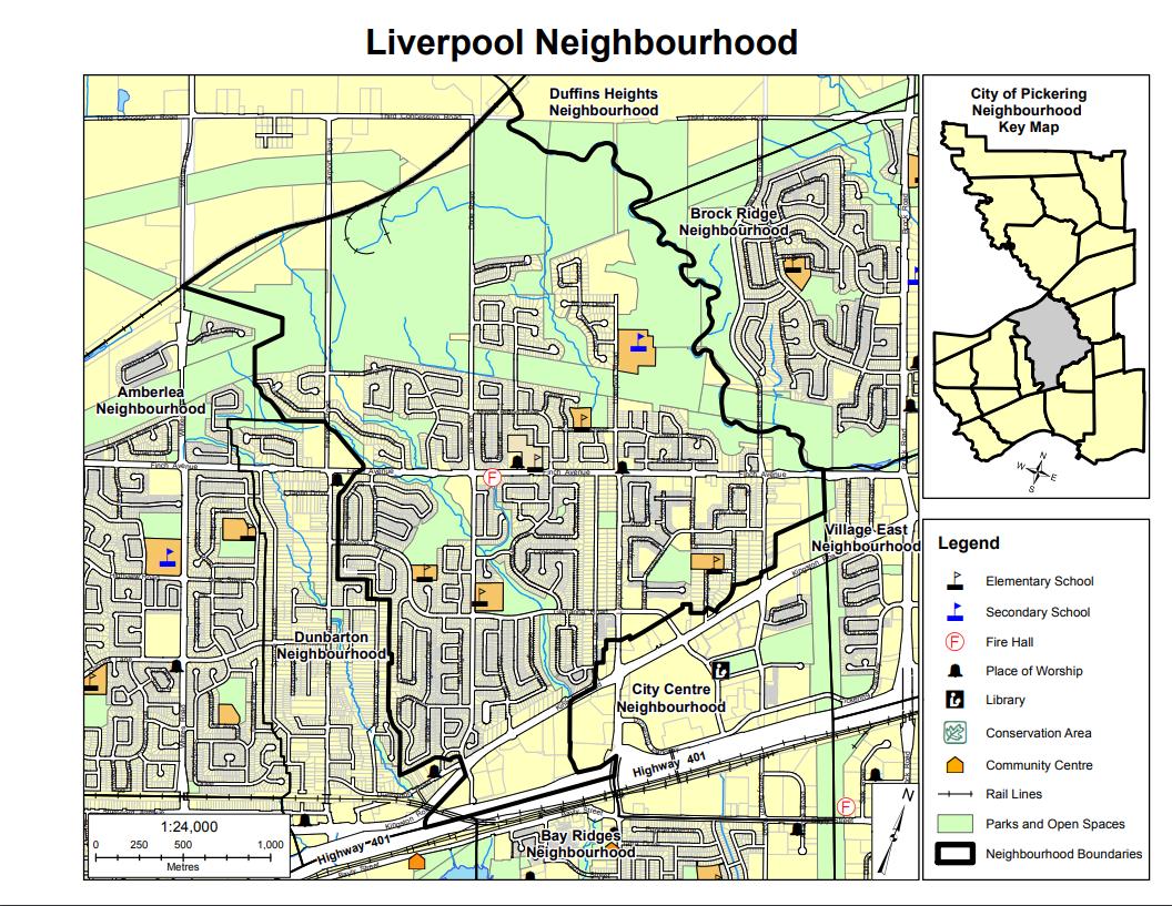 Map of Liverpool Neighbourhood in Pickering Durham Region