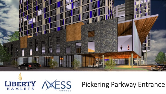 Entrance off of Pickering Pkwy for Axess Condos in Durham Pickering