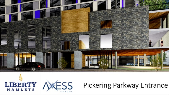 Entrance off of Pickering Parkway for Axess Condos in Pickering