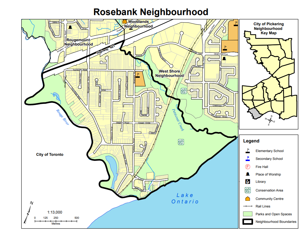 Map of Rosebank Neighbourhood in Pickering Durham Ontario