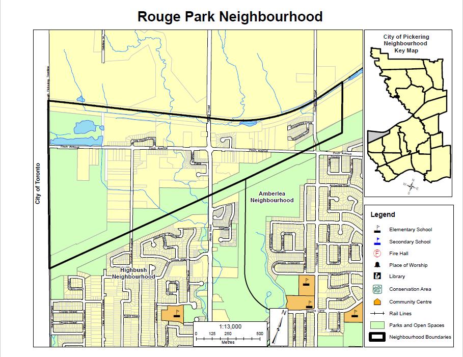 Map of Rouge Park Neighbourhood in Pickering Durham Region Ontario