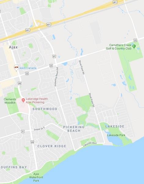 South East Neighbourhood Map in Ajax Durham Ontario