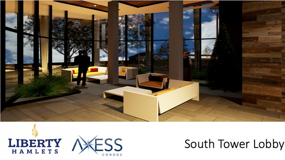 Inside View of South Tower Lobby of Axess Condos in Pickering