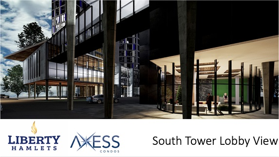 Outside View of South Tower Lobby in New Axess Condos in Pickering