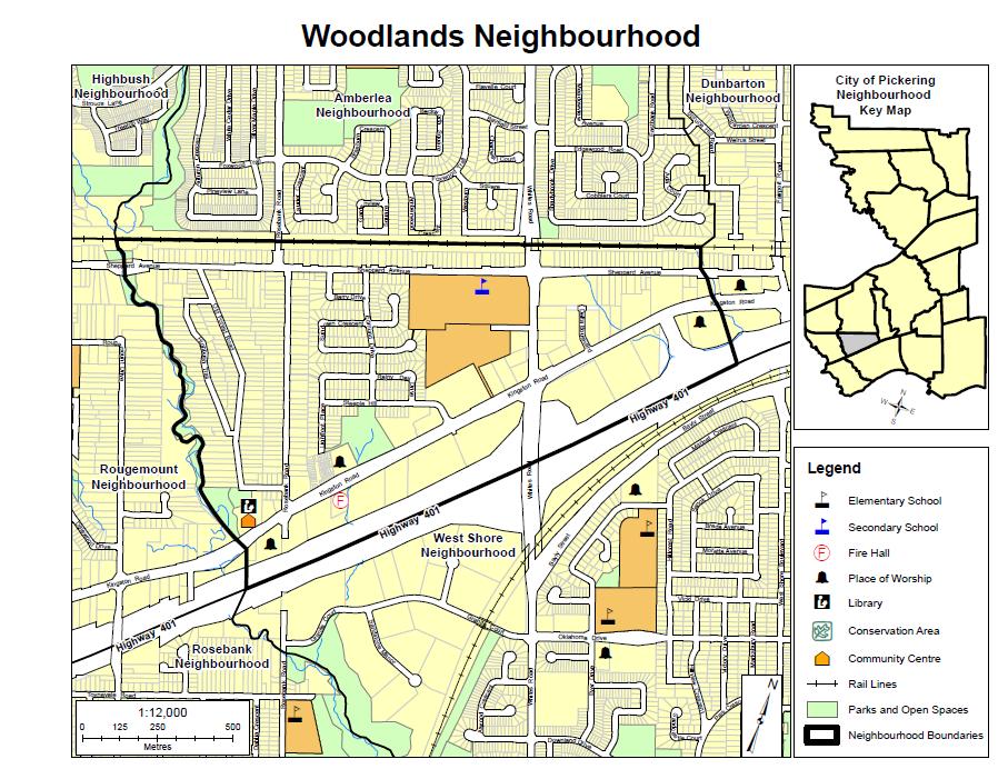 Map of Woodlands Neighbourhood in Pickering Durham Region Ontario