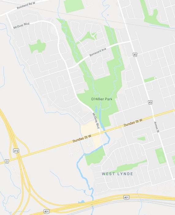 Map of Lynde Creek Neighbourhood Whitby Durham Region Ontario