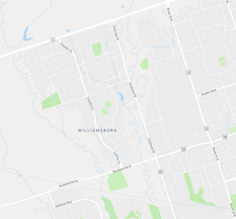 Map of Williamsburg Neighbourhood in Whitby Durham Ontario